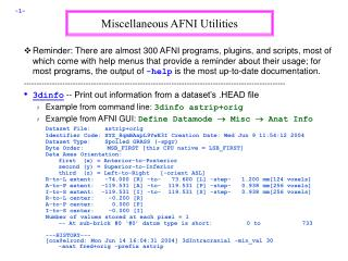 Miscellaneous AFNI Utilities