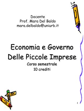 Docente Prof. Mara Del Baldo mara.delbaldouniurb.it