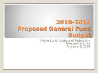 2010-2011 Proposed General Fund Budget