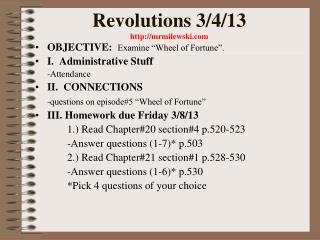 Revolutions 3/4/13 mrmilewski