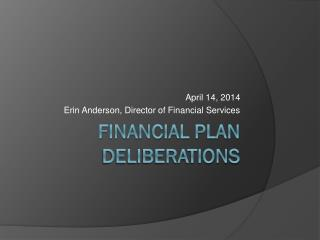 Financial Plan Deliberations