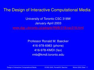 The Design of Interactive Computational Media