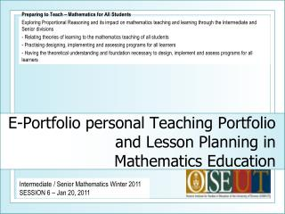 E-Portfolio personal Teaching Portfolio and Lesson Planning in  Mathematics Education