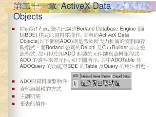 第二十一章   ActiveX Data Objects