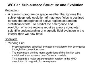 WG1-1:  Sub-surface Structure and Evolution
