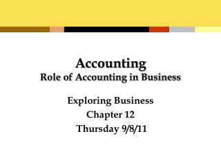 Accounting Role of Accounting in Business