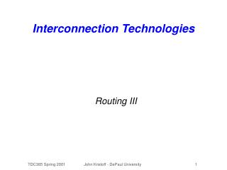 Interconnection Technologies