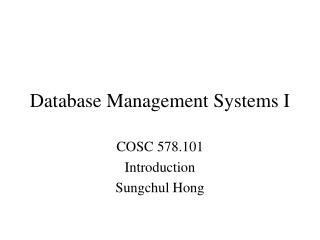 Database Management Systems I
