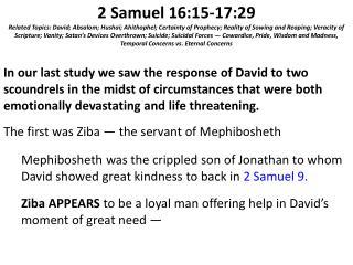 2 Samuel 16:15-17:29