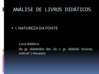 AN�LISE DE LIVROS DID�TICOS