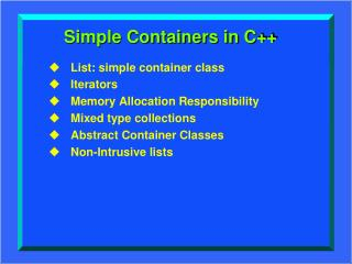 Simple Containers in C++