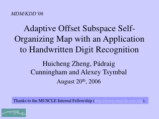 Adaptive Offset Subspace Self-Organizing Map with an Application to Handwritten Digit Recognition