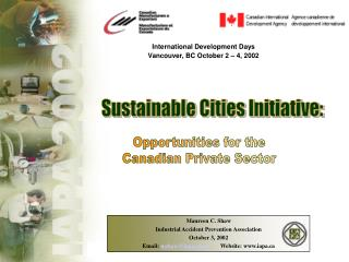 International Development Days Vancouver, BC October 2 – 4, 2002
