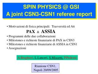 SPIN PHYSICS @ GSI A joint CSN3-CSN1 referee report