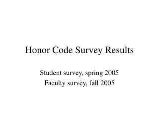 Honor Code Survey Results