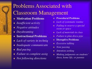 Problems Associated with Classroom Management