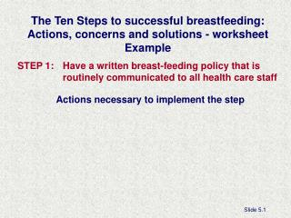 The Ten Steps to successful breastfeeding: Actions, concerns and solutions - worksheet Example