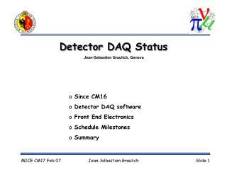 Detector DAQ Status