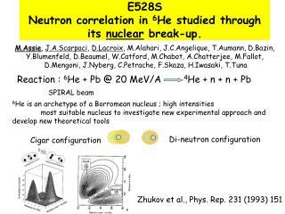 E528S Neutron correlation in  6 He studied through its  nuclear  break-up.