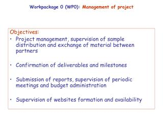Workpackage 0 (WP0):  Management of project