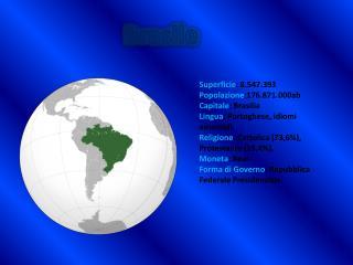Superficie : 8.547.393 Popolazione :176.871.000ab Capitale : Brasilia
