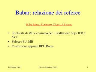 Babar: relazione dei referee