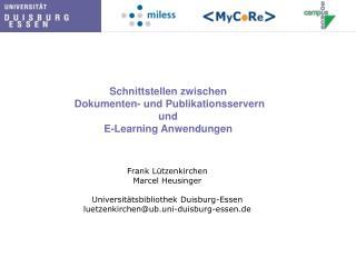 Schnittstellen zwischen   Dokumenten- und Publikationsservern  und E-Learning Anwendungen