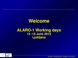 Welcome ALARO-1 Working days 13 -15 June 2012 Ljubljana