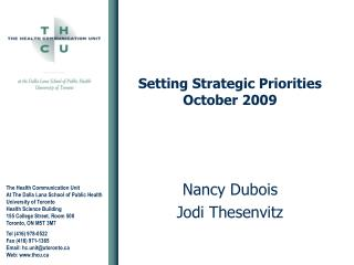Setting Strategic Priorities October 2009