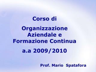 Corso di Organizzazione Aziendale e Formazione Continua a.a 2009/2010