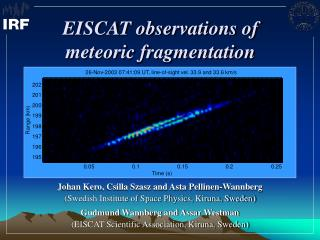 EISCAT observations of meteoric fragmentation
