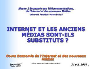 Master 2 Economie des Télécommunications,  de l'Internet et des nouveaux Médias