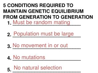 5 CONDITIONS REQUIRED TO  MAINTAIN GENETIC EQUILIBRIUM  FROM GENERATION TO GENERATION