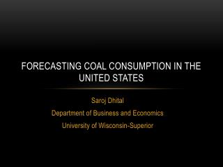 Forecasting Coal Consumption In the United States