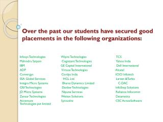 Over the past our students have secured good placements in the following organizations :