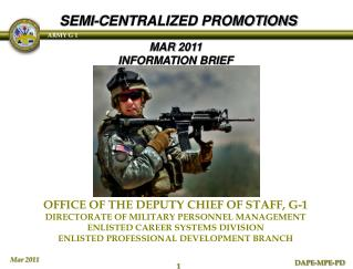 OFFICE OF THE DEPUTY CHIEF OF STAFF, G-1 DIRECTORATE OF MILITARY PERSONNEL MANAGEMENT