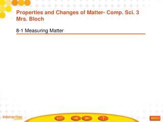 8-1 Measuring Matter