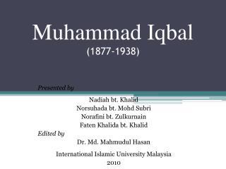 Muhammad Iqbal (1877-1938)