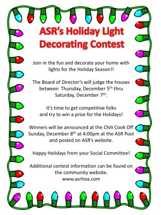 ASR's Holiday Light  Decorating Contest