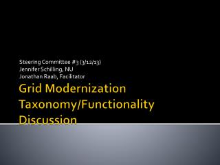 Grid Modernization Taxonomy/Functionality Discussion
