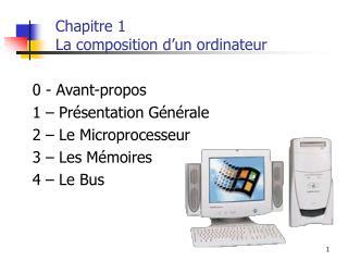 Chapitre 1 La composition d'un ordinateur