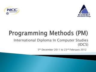 Programming Methods (PM)