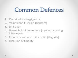 Common Defences