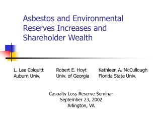 Asbestos and Environmental Reserves Increases and Shareholder Wealth