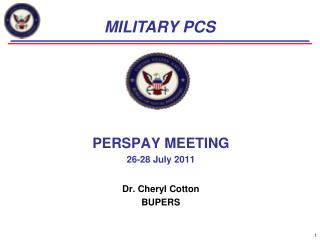 PERSPAY MEETING 26-28 July 2011  Dr. Cheryl Cotton BUPERS