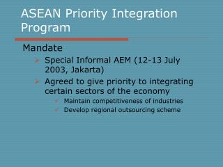 ASEAN Priority Integration Program