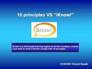 "10 principles VS ""iKnow!"""