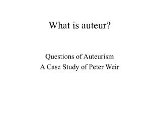 What is auteur?