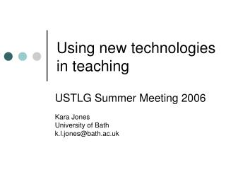 Using new technologies in teaching