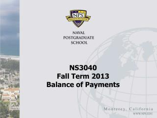 NS3040  Fall Term 2013 Balance of Payments